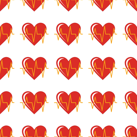 Red heart seamless pattern in cartoon style isolated on white background vector illustration for web Illustration