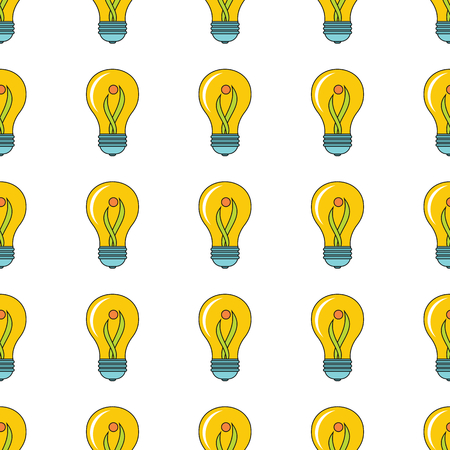 yellow lamp seamless pattern in cartoon style isolated on white background vector illustration for web