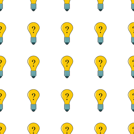 Idea lamp seamless pattern in cartoon style isolated on white background vector illustration for web Illustration