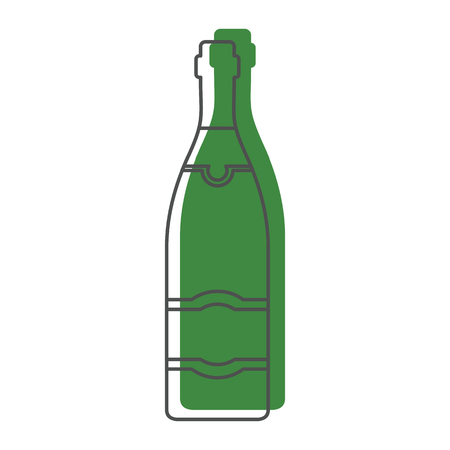 Bottle alcohol champagne in line with color silhouette style icons vector illustration for design and web isolated on white background. Bottle alcohol champagne vector object for labels