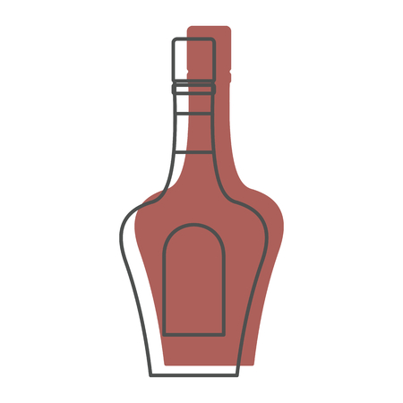 Bottle alcohol cognac in line with color silhouette style icons vector illustration for design and web isolated on white background. Bottle alcohol cognac vector object for labels and logo