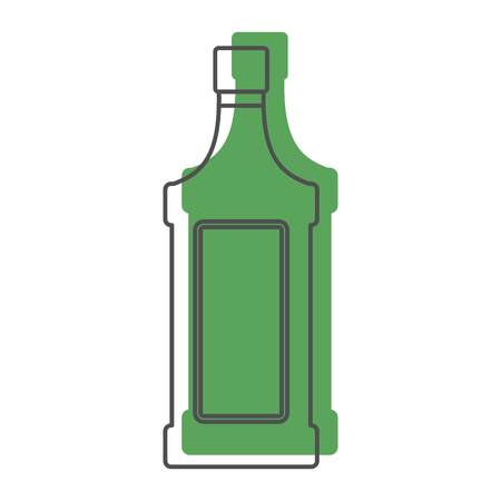 Bottle alcohol absinthe in line with color silhouette style icons vector illustration for design and web isolated on white background. Bottle alcohol absinthe vector object for labels and logo Illustration