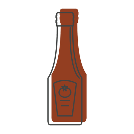 bottled: Ketchup icon in doodle style isolated on white background object for summer party barbeque design and web vector illustration. Illustration