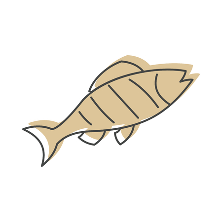 Fish grill in doodle style isolated on white background barbeque object for summer party barbeque design and web vector illustration.