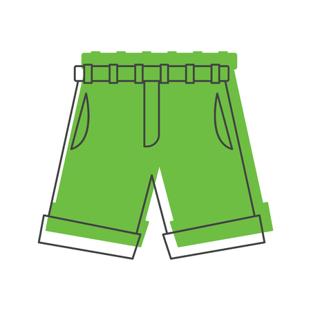 Green shorts in doodle style icons vector illustration for design and web isolated on white background. Men shorts vector object for labels and logo