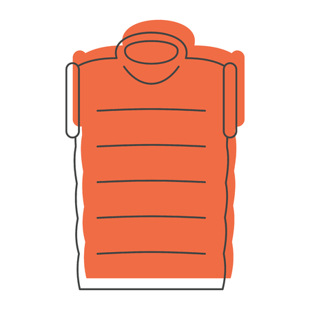 padded: Orange down jacket in doodle style icons vector illustration for design and web isolated on white background. down jacket vector object for labels and logo Illustration