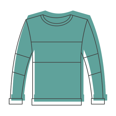 Green pullover in doodle style icons vector illustration for design and web isolated on white background. pullover vector object for labels and logo