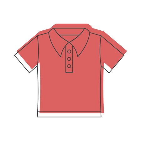 sleeve: Red shirt in doodle style icons vector illustration for design and web isolated on white background. Red shirt vector object for labels and logo