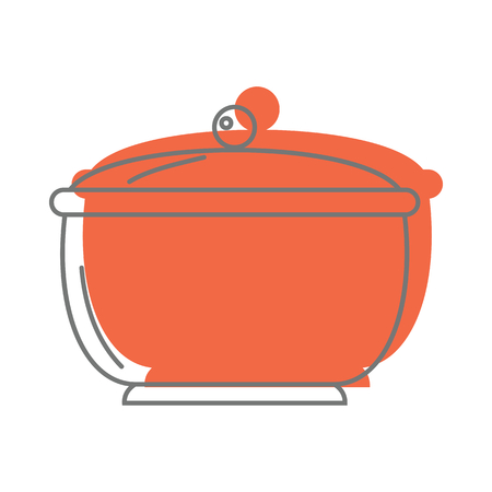 steel pan: El cazo anaranjado en los iconos del estilo del garabato vector el ejemplo para el diseño y el web aislados en el fondo blanco. Objeto vector Cauce para etiquetas y logo