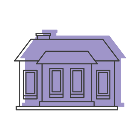 small business: Lilac house doodle icon vector illustration for design and web isolated on white background. House vector object for labels, logos and advertising Illustration