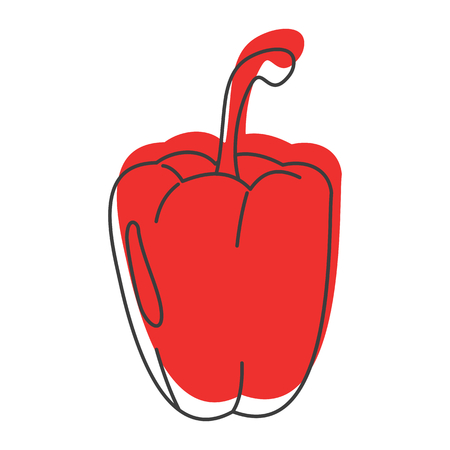 Red paprika doodle icon vector illustration for design and web isolated on white background. Paprika vector object for labels, logos and advertising