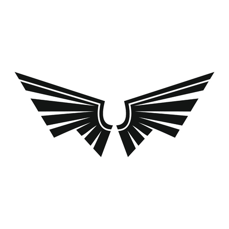 Decorative wings black simple silhouette icon vector illustration for design and web isolated on white background. Wings vector object for labels, logos and advertising