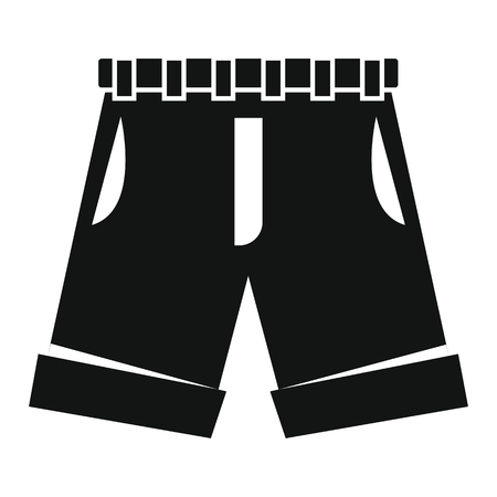 Men shorts in black simple silhouette style icons vector illustration for design and web isolated on white background. Men shorts vector object for labels and logo