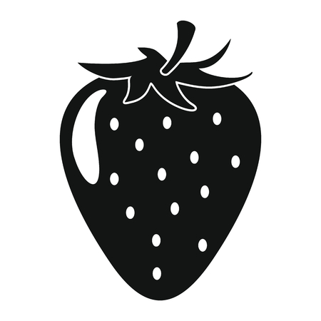 Strawberry in black simple silhouette style icons vector illustration for design and web isolated on white background. Strawberry vector object for labels and logo Illusztráció