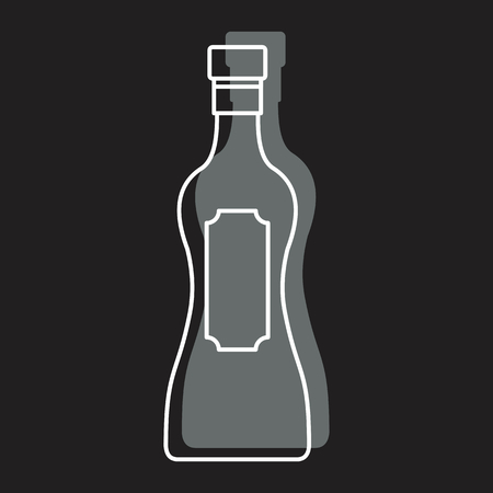 Bottle alcohol martini in line with color silhouette style icon vector illustration for design and web isolated on black background. Bottle alcohol martini vector object for labels Illustration