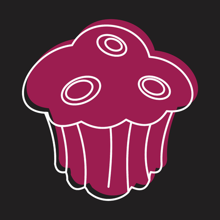 produits céréaliers: Muffin bakery product in doodle style icons vector illustration for design and web on black background. Bakery product muffin vector object for labels and logo