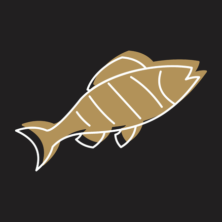 Fish steak in line with color silhouette style icon vector illustration for design and web isolated on black background. Fish steak vector object for labels