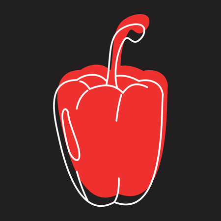 Red paprika doodle icon vector illustration for design and web isolated on black background. Paprika vector object for labels logos and advertising