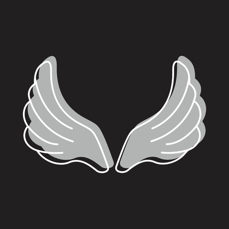 Wings doodle icon vector illustration for design and web isolated on black background. Wings vector object for labels, logos and advertising