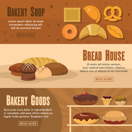 cheesecake: Set of three horizontal bakery shop banners with colorful images of bakery products with text vector illustration. Banners for bakery design and web