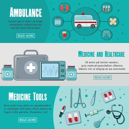 palpitation: Set of three horizontal medicine banners with colorful images of ambulance with text vector illustration. Banners for medicine design and web