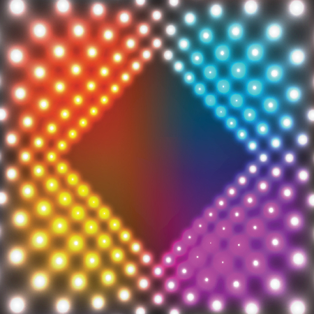 Neon colorful square border with light effects. Vector illustration for disco design and neon illustration