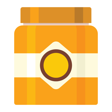 Jar of honey icon in flat style vector illustration for design and web isolated on white background. Jar of honey vector object for label and advertising