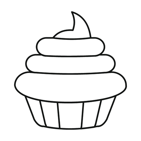 Cake icon in outline style vector illustration for design and web isolated on white background. Cake vector object for labels and advertising