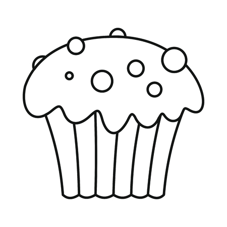 cheesecake: Cupcake icon in outline style vector illustration for design and web isolated on white background. Cupcake vector object for labels and advertising