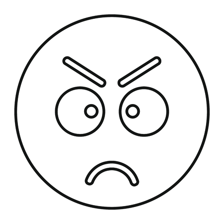 Angry face icon in outline style vector illustration for design and web isolated on white background. Emoticon vector object for label and advertising
