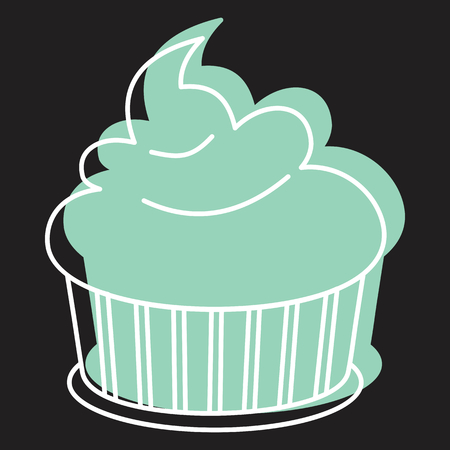 Cupcake icon in doodle style vector illustration for design and web isolated on black background. Cupcake vector object for labels and advertising. Illustration