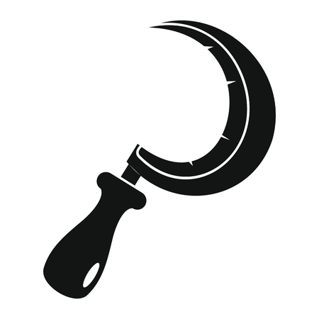 Sickle icon in black simple silhouette style vector illustration for design and web isolated on white background. Sickle vector object for label and advertising.