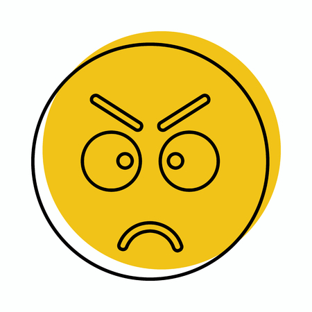 Angry face icon in doodle style vector illustration for design and web isolated on white background. Emoticon vector object for label and advertising. Vektorové ilustrace