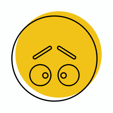 Guilty face icon in doodle style vector illustration for design and web isolated on white background. Emoticon vector object for label and advertising.