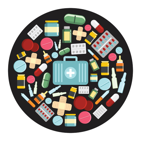 Medicine drugs cartoon icons set vector illustration for design and web isolated on black circle background. School vector object for labels, logos and advertising. Illustration