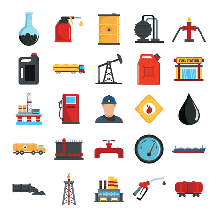 De vlakke die pictogrammen van de olie gasindustrie met de offshore booreiland van het platform en tankerschip geïsoleerde vectorillustratie worden geplaatst. Olie-industrieobjecten voor industrieel ontwerp Stock Illustratie