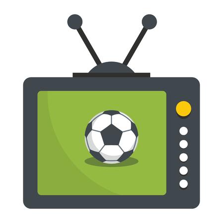 Fußball Fernsehikonen-Vektorillustration für Design und Netz lokalisiert auf weißem Hintergrund. Fußball Fernsehvektorgegenstand für Aufkleber, Logos und Werbung Standard-Bild - 85564928