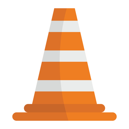 White and orange road cone vector illustration for design and web isolated on white background. White and orange road cone vector object for label and advertising