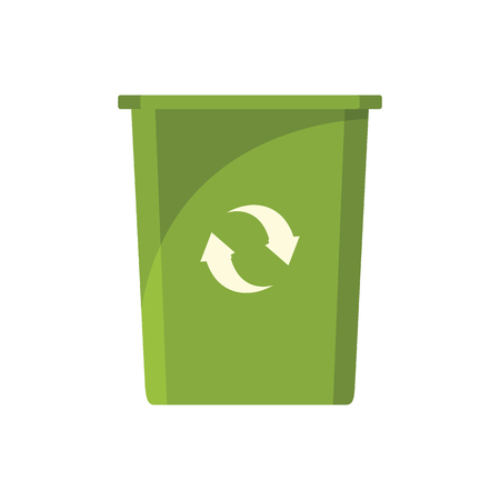 collect: Green trash bin icon. Flat illustration of green trash bin vector icon for web on white background Illustration
