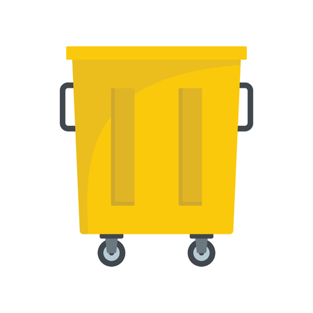 collect: Yellow trash bin icon. Flat illustration of Yellow trash bin vector icon for web on white background Illustration