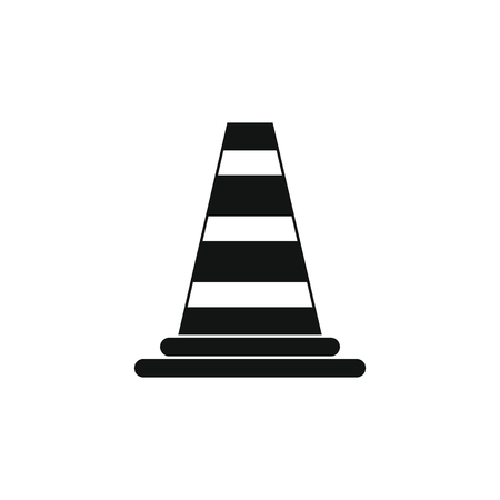 Black simple silhouette illustration of Road cone vector icon Illustration