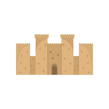 Medieval retro castle with fortified wall and towers icon.
