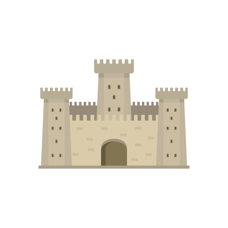 Medieval vintage castle with fortified wall and towers icon.