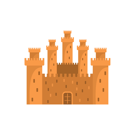 Medieval fairytale kingdom with fortified wall and towers icon.