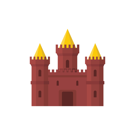 Medieval king castle with fortified wall and towers icon.