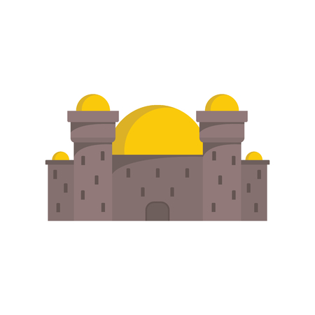 Medieval Arabian castle with fortified wall and towers icon.