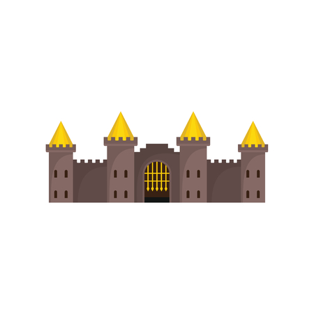 Mittelalterliches Weinleseschloss mit verstärkter Wand- und Türmenikone. Flache Illustration der mittelalterlichen Schlossvektorikone für das Netz lokalisiert auf weißem Hintergrund