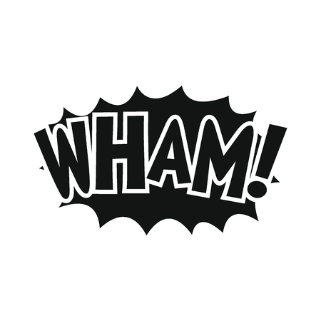 Comic speech bubble with expression text WHAM. Comic speech bubble black simple silhouette vector illustration for games, cartoon, animation and web Ilustração