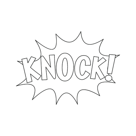 Comic speech bubble with expression text KNOCK. Comic speech bubble outline vector illustration for games, cartoon, animation and web Illustration
