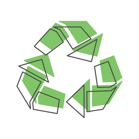 Recycle green icon. Doodle illustration of Recycle green vector icon for web isolated on white background